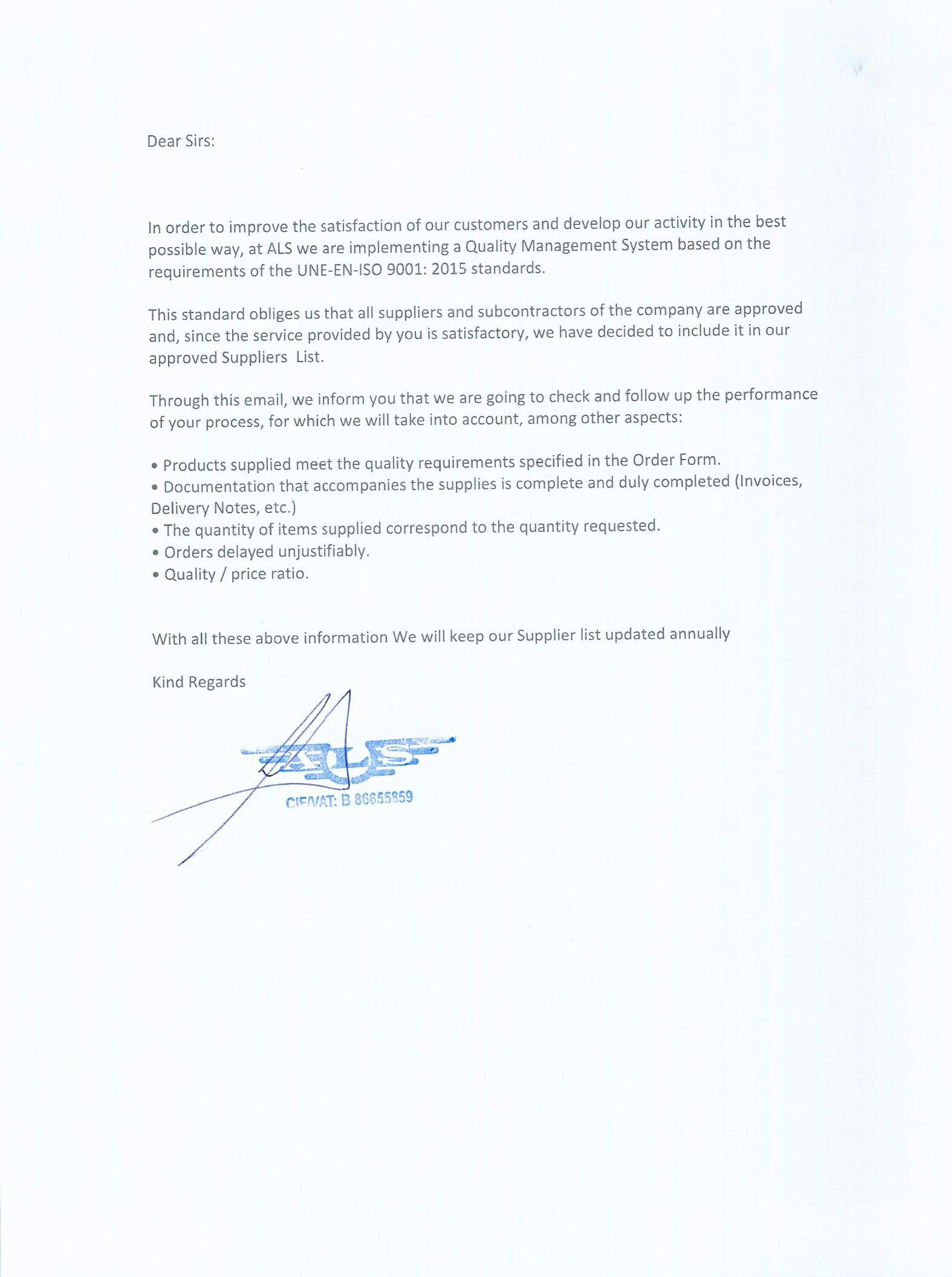 Certificate Alspares