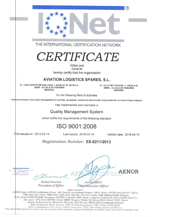 RENEVAL CERTIFICATE ISO9001 IQNET ENGLISH